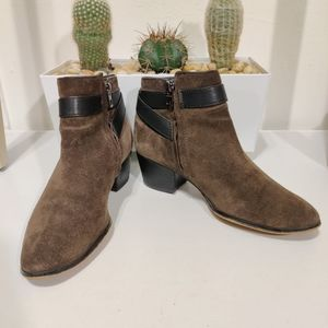 COACH Patricia Suede Chelsea Booties Brown Leather